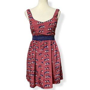 Judith March Mini Short Dress Birds On A Wire Red